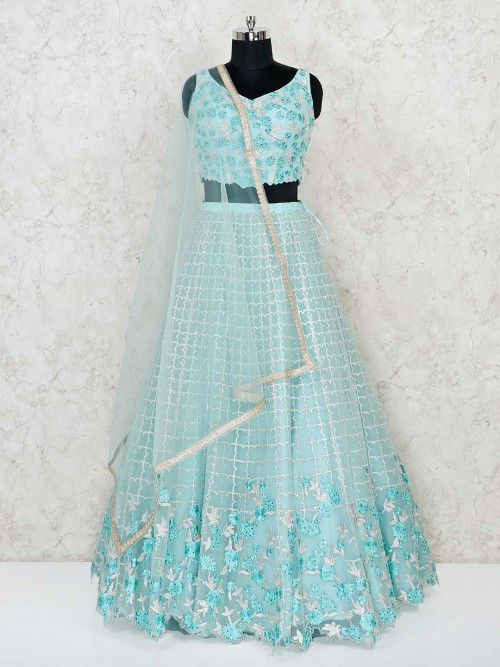 New Design Sky Blue Net Wedding Lehenga Choli