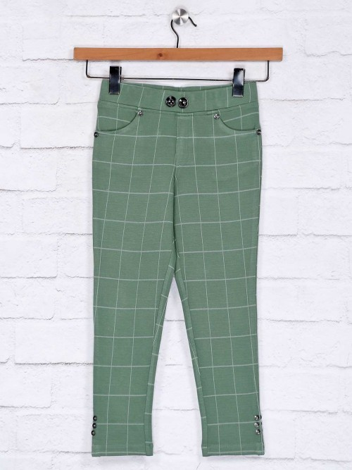 No Doubt Green Cotton Girls Casual Jeggings