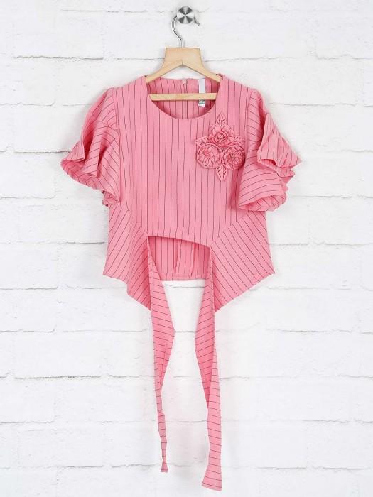 No Doubt Pink Cotton Mega Sleeves Top