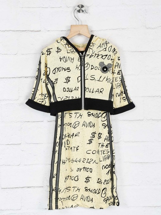 No Doubt Printed Hooded Yellow Top