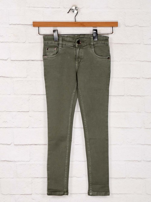 No Fear Casual Look Green Solid Jeans
