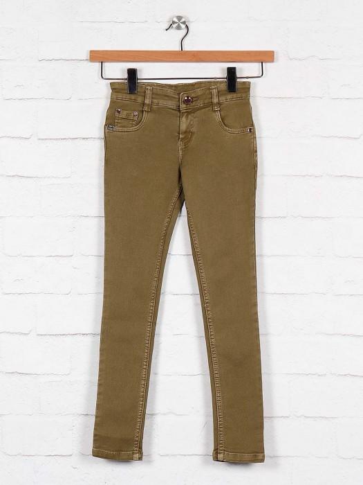 No Fear Khaki Color Solid Pattern Jeans