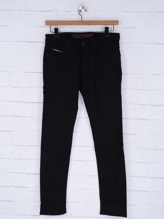 Nostrum Black Denim Solid Jeans
