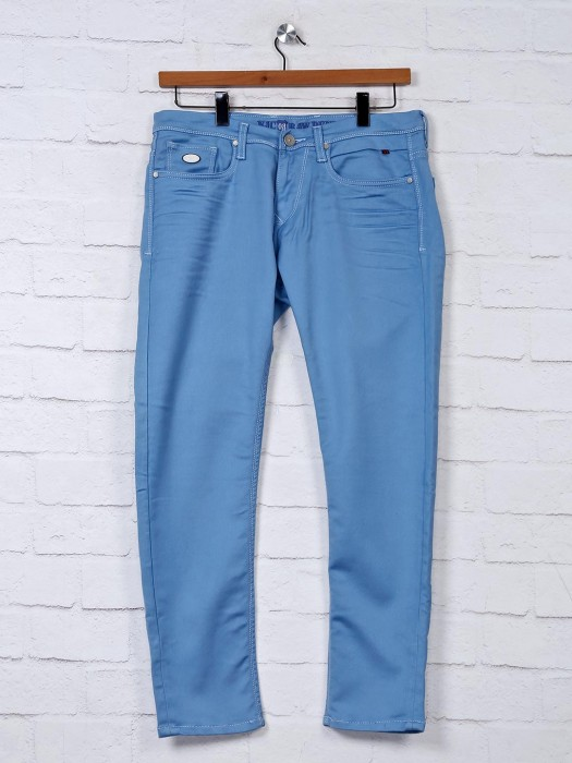 Nostrum Light Blue Solid Regular Jeans