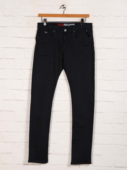 Nostrum Solid Black Denim Slim Fit Jeans