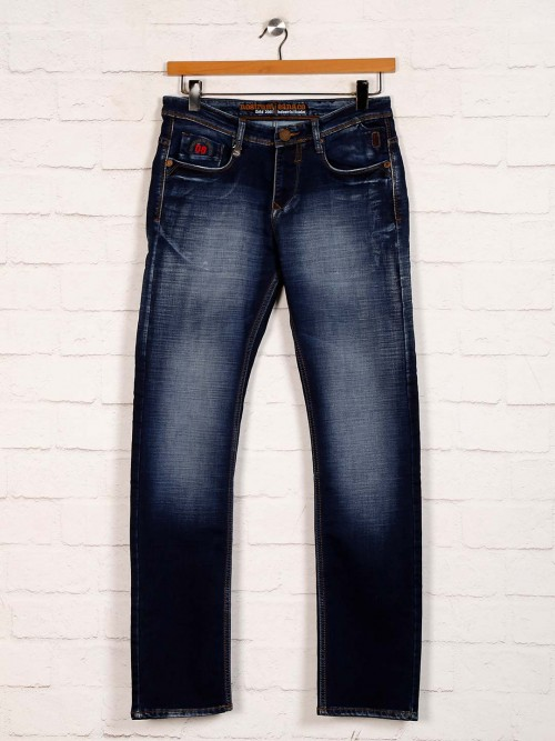 Nostrum Washed Navy Casual Slim Fit Jeans