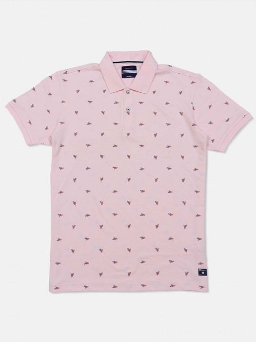 Octave Light Pink Printed Polo T-shirt