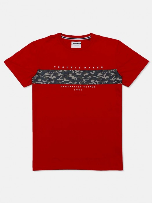 Octave Presented Maroon Printed T-shirt