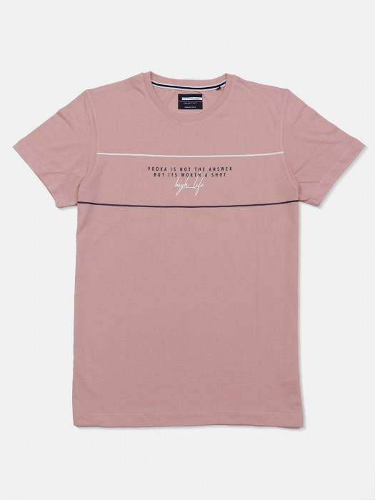 Octave Printed Peach Mens T-shirt