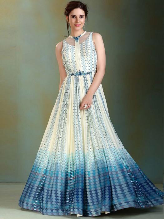 Off White And Blue Cotton Silk Festive Anarkali Suit