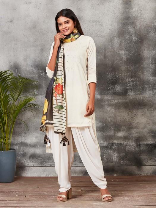Off White Festive Chanderi Silk Punjabi Salwar Suit
