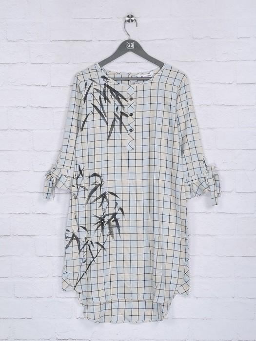 Off White Hue Checks Pattern Cotton Top