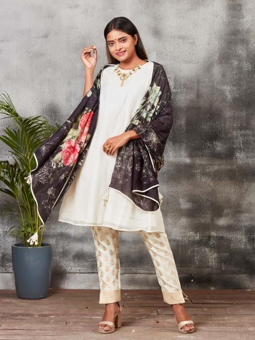 Off White Round Neck Banarasi Silk