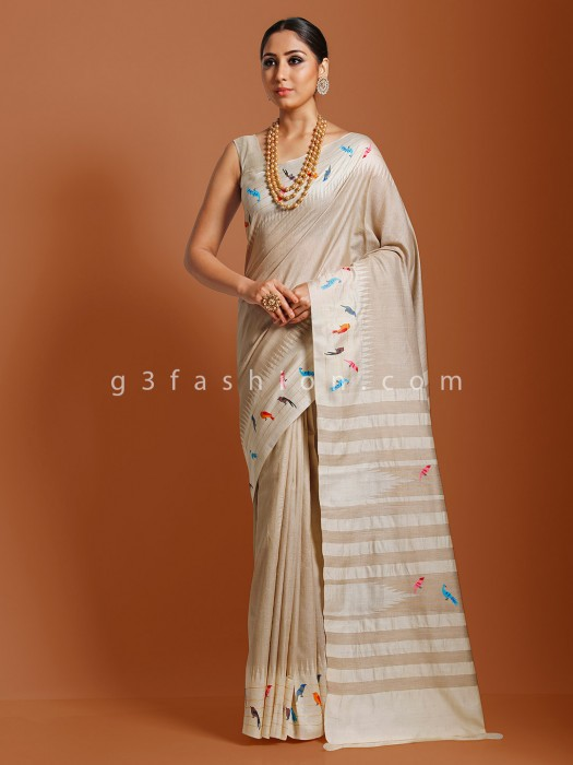 Oil Printed Beige Tussar Silk Wedding Saree