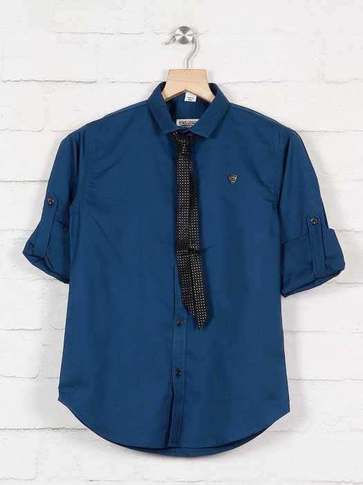 Okids Blue Full Sleeves Cotton Solid Shirt