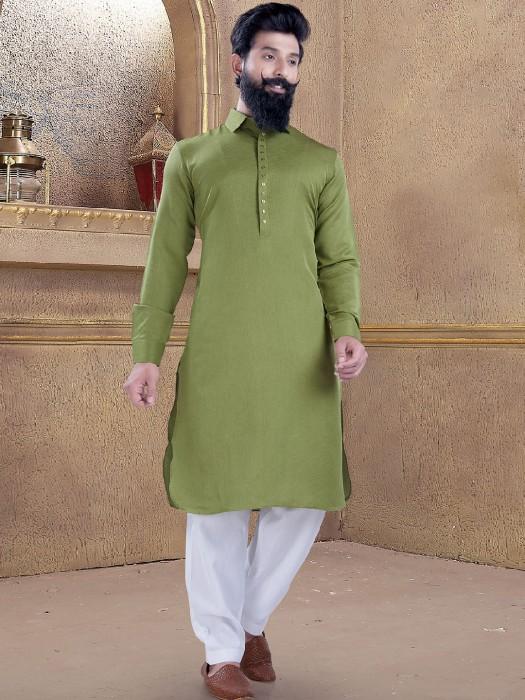 Olive Color Plain Pathani Suit