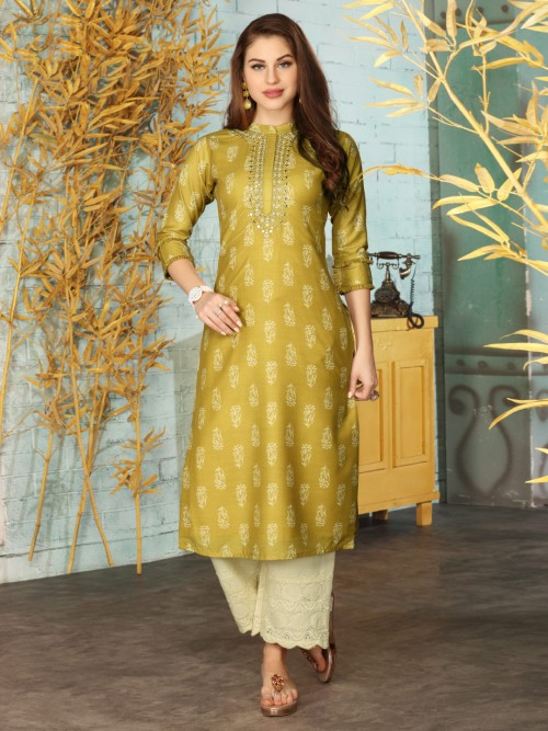 Olive Cotton Punjabi Palazzo Suit For Festive