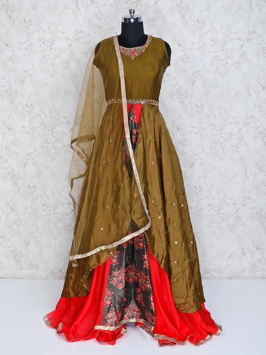 Olive Cotton Silk Round Neck Anarkali Suit