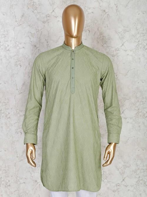 Olive Festive Wear Cotton Short Pathani Kurta In Chikan Work