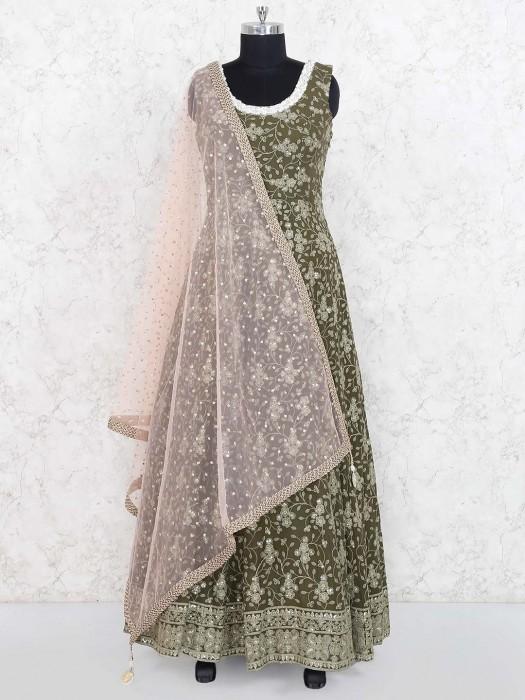 Olive Hue Georgette Floor Length Anarkali Suit
