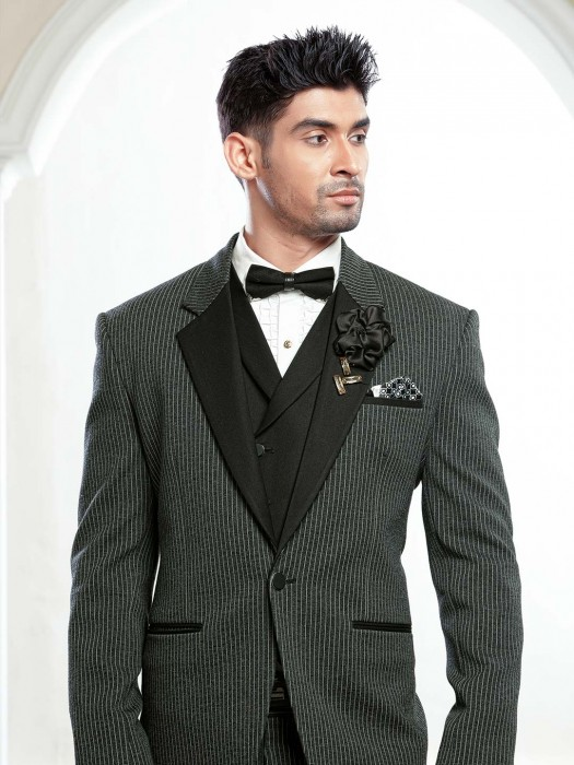 Olive Hue Three Piece Terry Rayon Tuxedo Suit