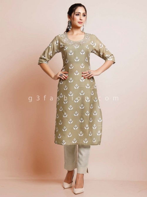 Olive Latest Cotton Festive Wear Kurti