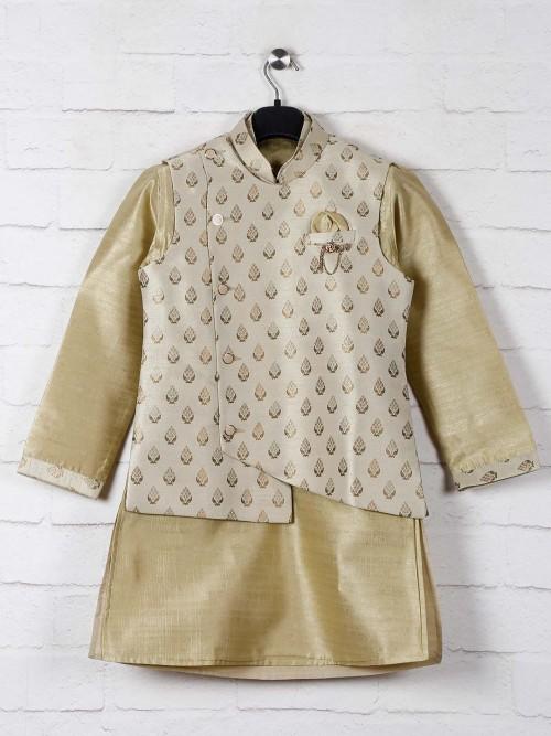 Olive Raw Silk Boys Waistcoat Set