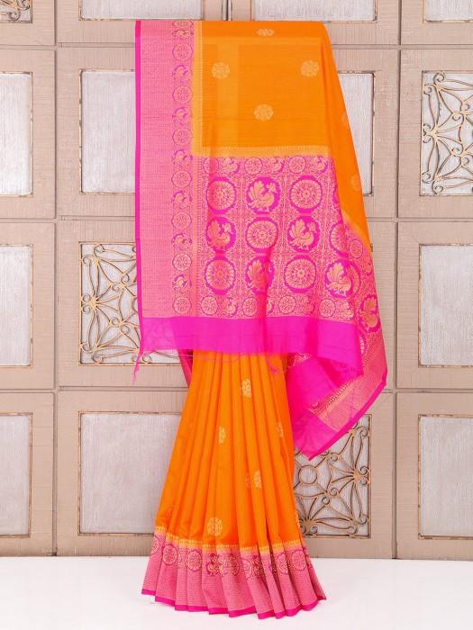 Orange And Magenta Color Silk Fabric Saree