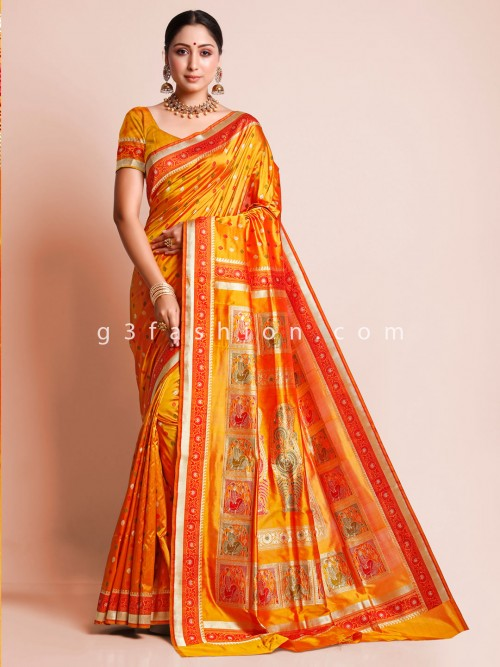 Orange Banarasi Silk Wedding Sari