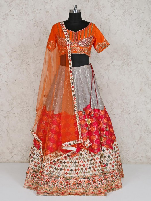 Orange Banarasi Silk Wedding Wear Lehenga Choli