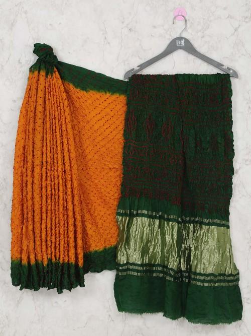 Orange Bandhej Saree For Festive Event