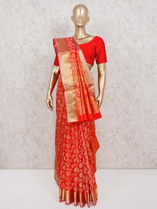 Orange Classic Wedding Wear Banarasi Pure Silk Saree