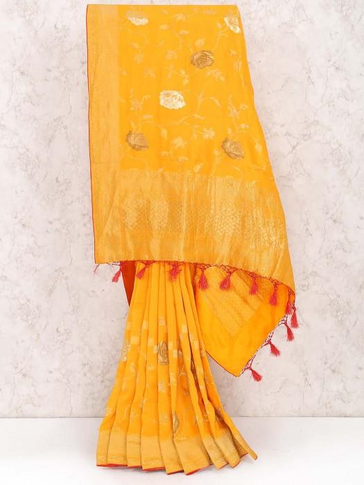 Orange Color Saree In Muga Silk