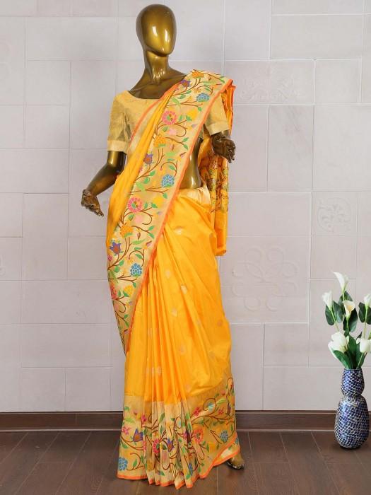 Orange Color Saree In Pure Banarasi