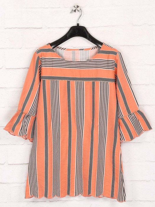 Orange Cotton Stripe Top