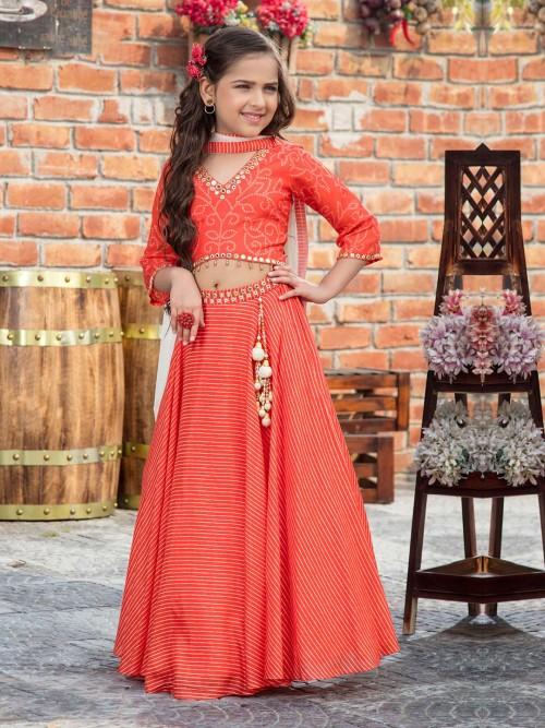 Orange Cotton Wedding Function Lehenga Choli