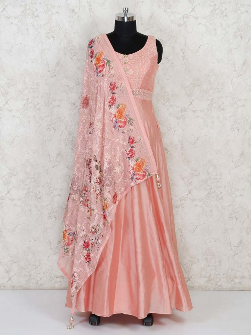 Orange Gown For Wedding In Raw Silk