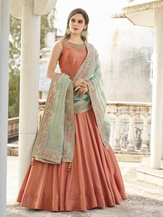 Orange Hue Cotton Silk Floor Length Anarkali Suit