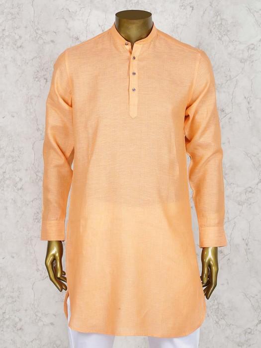 Orange Hue Festive Wear Linen Cotton Short Pathani