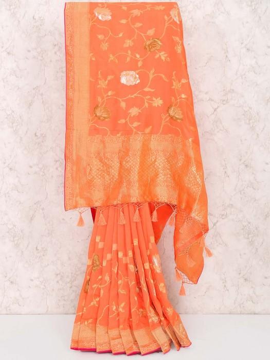 Orange Hue Muga Silk Festive Wear Saree