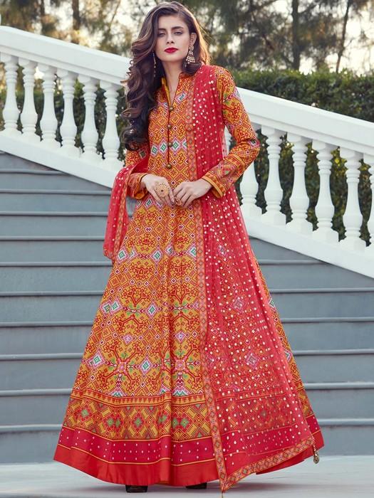 Orange Hue Patola Silk Floor Length Anarkali Suit