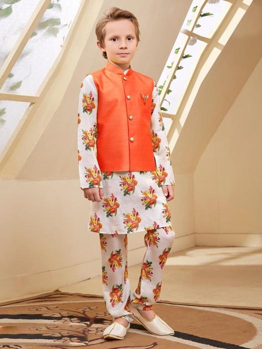 Orange Hue Solid Raw Silk Waistcoat Set