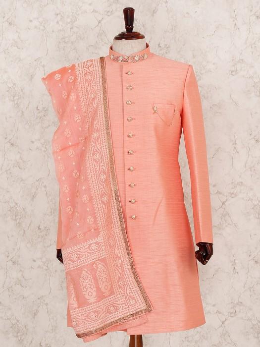 Orange Raw Silk Fabric Indo Western For Wedding