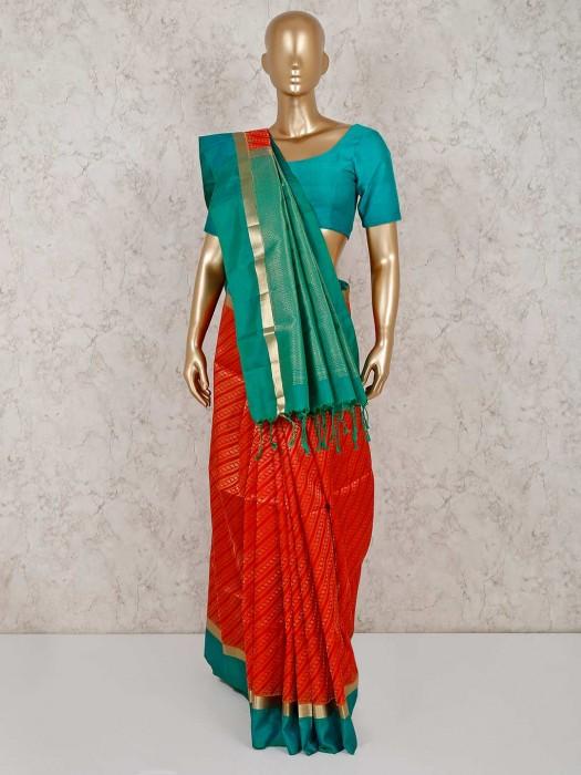 Orange Saree In Pure South Silk