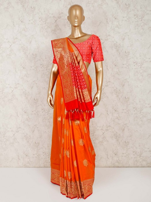 Orange Semi Silk Saree With Unstitched Blouse Piece