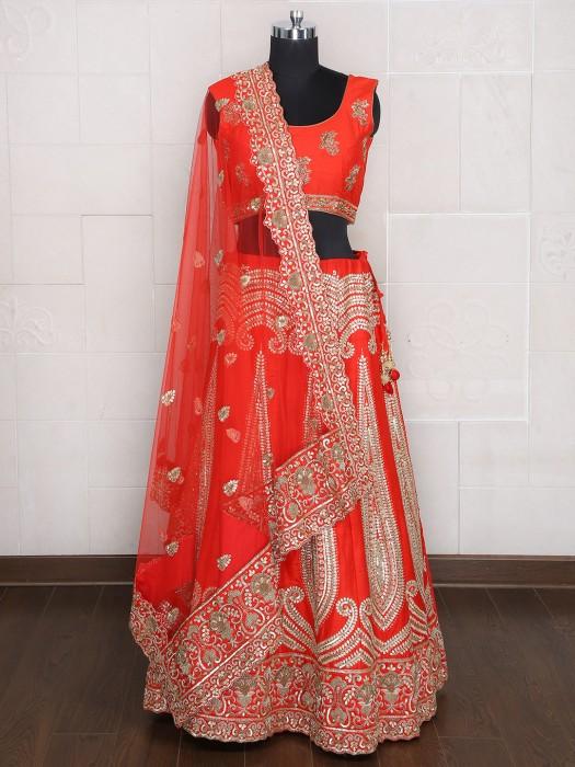 Orange Silk Designer Bridal Wear Lehenga Choli