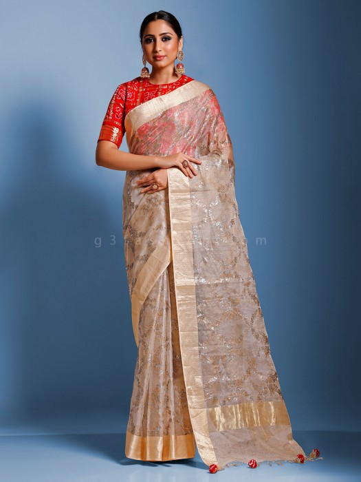 Organza Tissue Silk Beige Saree With Ready Made Blouse
