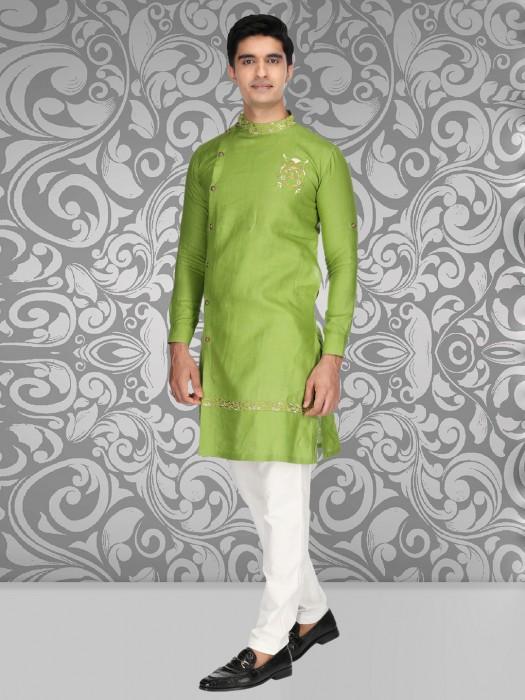 Parrot Green Full Fancy Buttoned Placket Kurta Suit