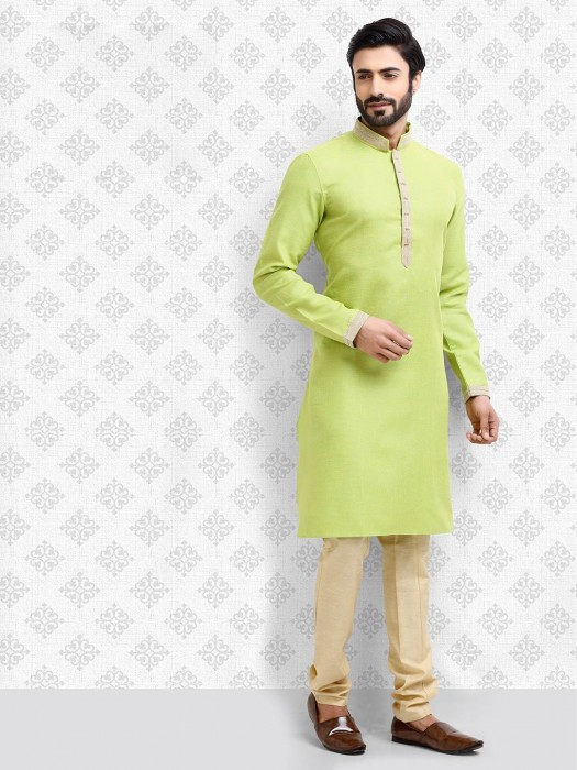 Parrot Green Hue Cotton Festive Wear Kurta Suit