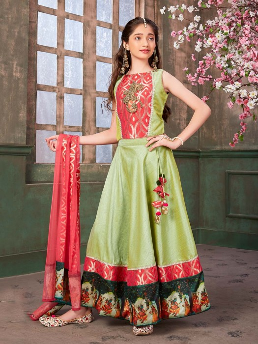 Parrot Green Hued Cotton Silk Anarkali Suit